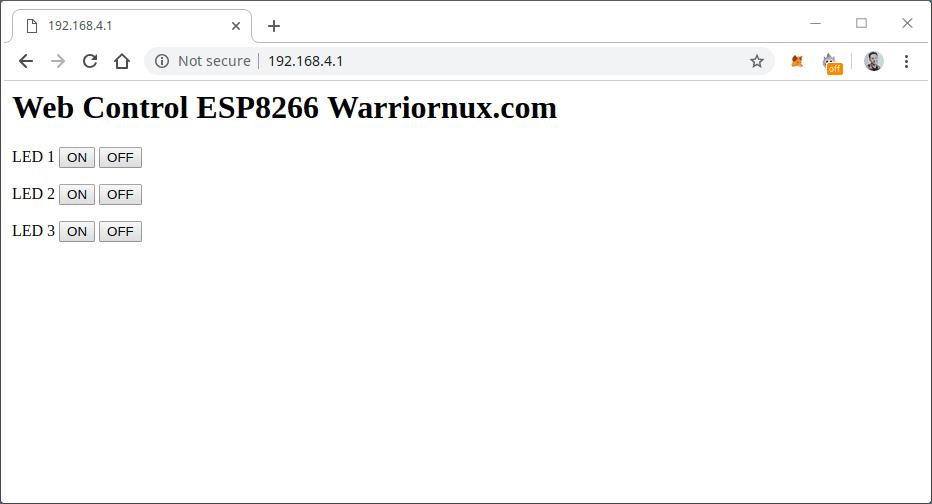 Tampilan Web Control ESP8266
